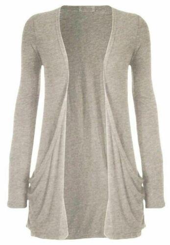 Women Plain Printed Boyfriend 2Pocket Cardigan Ladies Open Front Long Sleeve Top