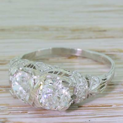 2 38ct Old Cut Double Diamond Ring