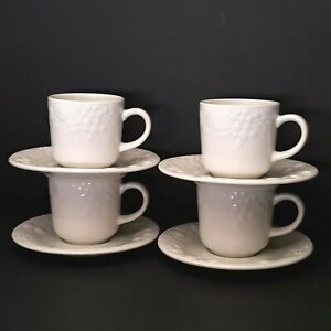 Farberware-Blanc-Sur-Blanc-4-Cups-4-Saucers-Embossed-Grapes-Vines-More-Pcs-Avail