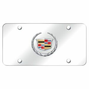 Cadillac Front License Plate Frame Black Pearl Logo on Mirror Stainless Steel