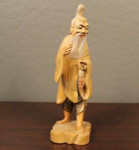 Hand-carved-Taiwanese-Japanese-old-man-gold-fish-wood-figurine-long-beard-robe