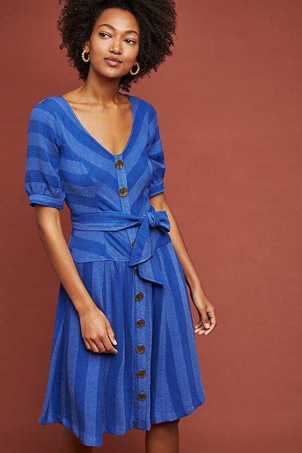 ANTHROPOLOGIE NWT MAEVE Blau Tonal Striped Buttondown Fit & Flare Dress Sz.14