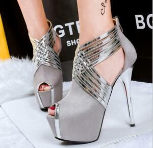 ec7a58916ec2 Women Stylish Night Club Platform Open Toe Dress Party Stiletto ...