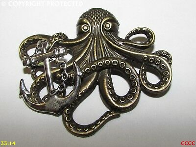 steampunk badge brooch pin silver kraken octopus pirate bronze cog gearwheel