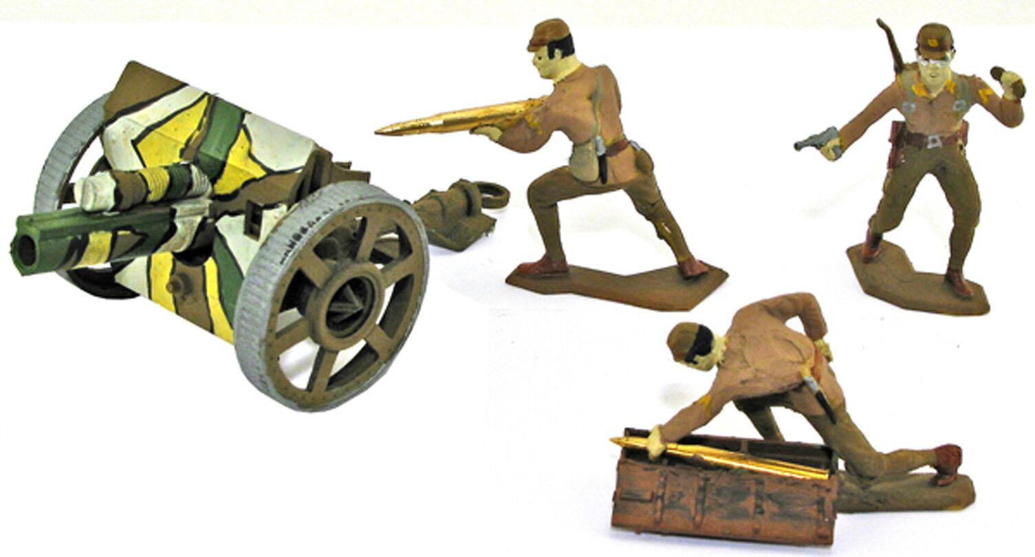 3 Handgjort WWII japanskt konstilleri w   Field Gun, omräknat målat 54mm