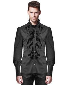 Punk-Rave-Camiseta-Para-Hombre-Top-Negro-Gotico-Steampunk-De-Coleccion-Regencia-aristocrata