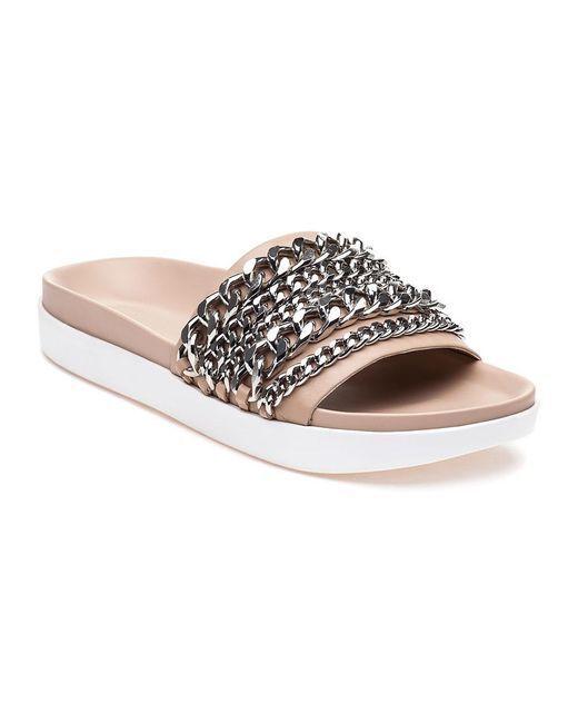 Kendall + Kylie Shiloh Chain-Link Leder  Slide  Sandale Größe 10 NEW