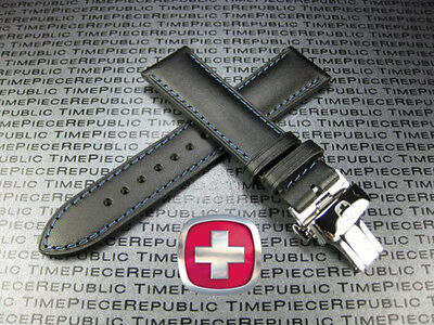 21mm VICTORINOX SWISS ARMY Black CALF LEATHER STRAP Deployment PO Buckle BAND 21