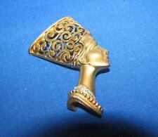 Vintage Egyptian Revival Nefertiti Filigree Scroll Gold Rhinestone Pin Brooch