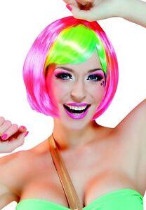 Bunt Perücke Kurz Bob Neon Pink Grün Fasching Karneval Schlagermove Kostüm 85700
