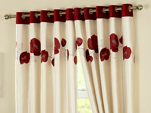 Red-Cream-Poppy-Eyelet-Lined-Curtains-Embroidered-Flock-Shiny-Faux-Silk-New-UK