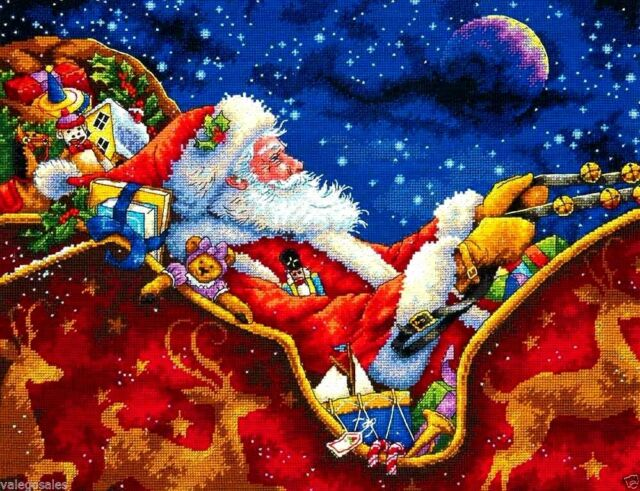 Dimensions Gold Counted Cross Stitch Kit ~ SANTA'S MIDNIGHT RIDE #70-08934 Sale