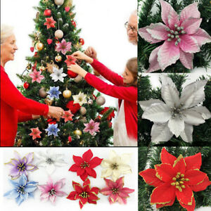 Christmas Flowers.Details About 10 Glitter Christmas Flowers Artificial Poinsettia Wedding Party Xmas Tree Decor