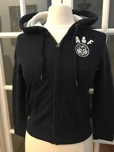 Women-s-Navy-Dark-Large-Abercrombie-Fitch-A-amp-F-Front-Zipped-Hoodie-Jacket-NWT