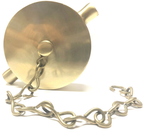 """Polished Brass 2-1//2/"""" NST Fire Hose or Hydrant Cap and Chain"""