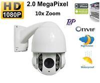 10x Zoom Outdoor 1080p Ip Network Ptz Dome Ir D/n Camera Onvif W.poe Splitter