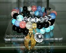 3 Crystal Gold Rose Quartz Turquiose Gemstone Stretch Bracelet Arm Candy Stack