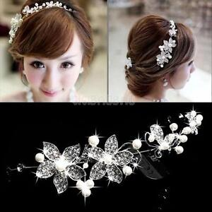 Crystal-Rhinestone-Pearl-Flower-Headband-Wedding-Bridal-Hair-Pin-Clip-Diamante