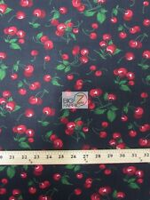 """CHERRY/FRUIT POLY COTTON PRINT FABRIC-Black- SOLD BTY POLYCOTTON 58""""/59"""" - P16"""