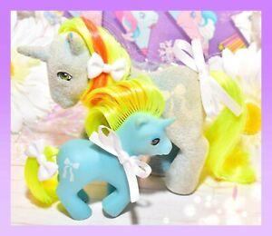 ❤️My Little Pony MLP G1 Vtg MOMMY & BABY Ribbon So Soft Beddy Bye Unicorn Lot❤️