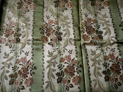 Vintage French Floral Roses Stripe Satin Lisere Brocade Fabric ~ Green Rose Gray