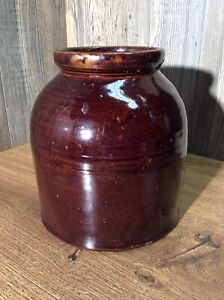 Antique-Brown-Glaze-Stoneware-Crock-Vintage-Pottery-J4