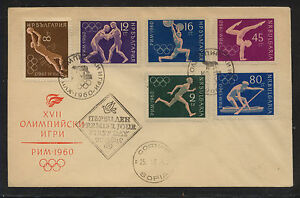 Bulgaria 1960 Olympic stamps on cover 1113-1118 perf stamps MS0312