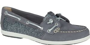 56a94a353953 Sperry Top-Sider Women's Coil Ivy Dark Grey Leather Sparkle Boat ... sperry