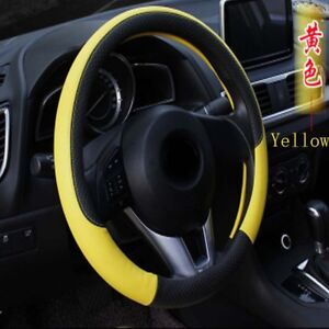 Universal-Anti-slip-Leather-Colorful-Embossing-Car-Steering-Wheel-Covers-Yellow