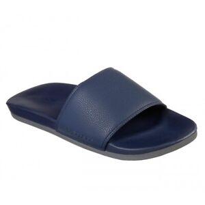 Skechers GAMBIX Mens Faux Leather Summer Beach Pool Sandals Sliders Navy//Grey