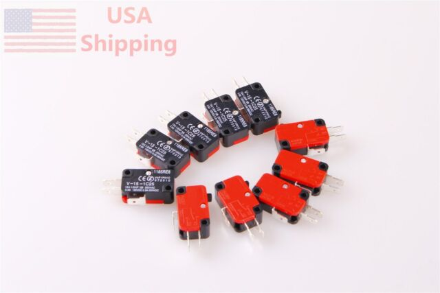 10X V-15-1C25 15A Button SPDT Micro Limit Switch Momentary Snap Action