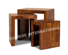 Contemporary Wooden Nesting table / stool ( nest  of 3 )