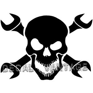 Skull-and-Wrench-Crossbones-Vinyl-Sticker-Decal-Choose-Size-amp-Color