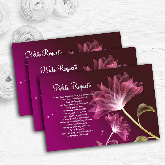lila Flower Stunning Personalised Wedding Gift Cash Request Money Poem Cards