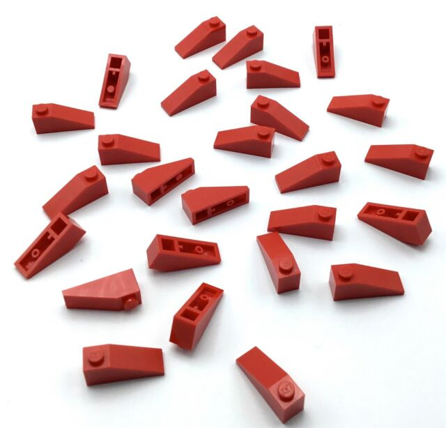 LEGO LOT OF 25 NEW RED 1 X 3 STUD SLOPE PIECES SLANTED BRICK PARTS