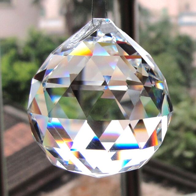 5Pcs Feng Shui Clear Crystal Sun Catcher Hanging Rainbow Prism Wind Chime Decor