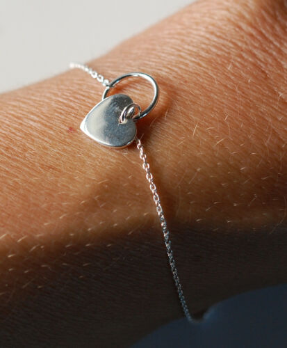 2,3 g massiv Sterling Silber 925 Armband//Fußkettchen mit Herz 16+3 cm ca