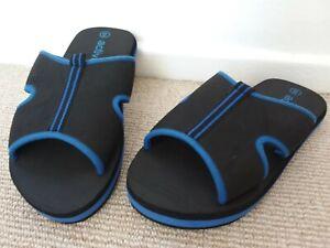 Active Noir & Bleu À Enfiler Tongs Mules Eau Chaussures De Plage Piscine Taille 8