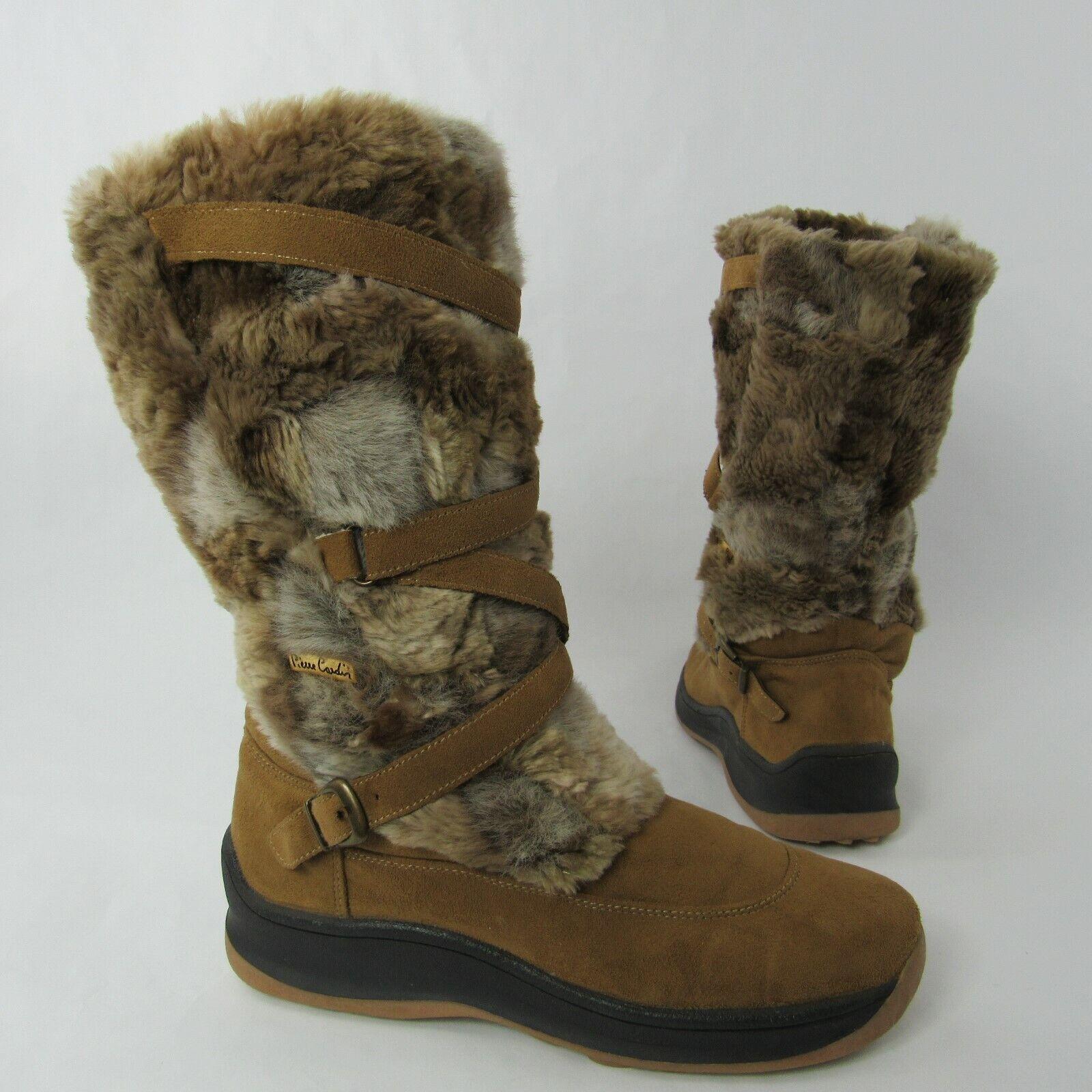 Pierre bildin Drag on stövlar Storlek 40 40 40 EU 9 US Shearling Lined skor sammet Faux Fur  kampanjer