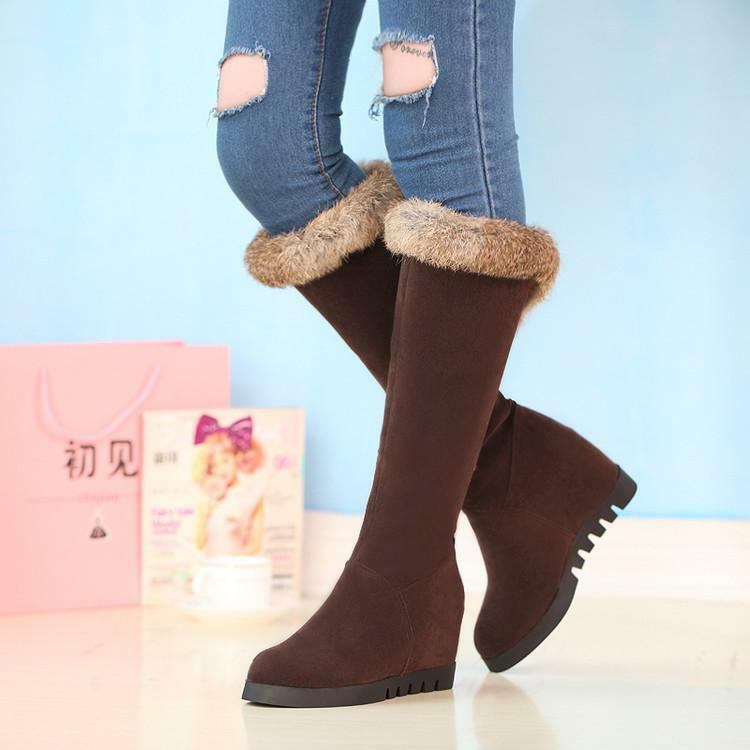 New Womens Round Toe Knee High Boots snow Fur Lined Pull On Hodden Heel Shoes