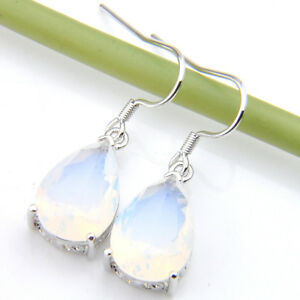 Rainbow-Moonstone-Gemstone-Silver-Dangle-Hook-Earrings-Drop-Earrings-Jewelry