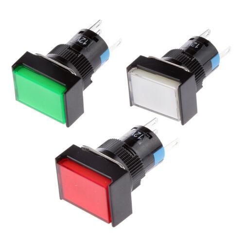 3Pcs Square Shape LED Illuminated Push Button DC 12V Switch Contactor