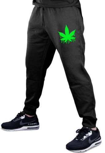 Men/'s Dripping Weed Leaf Jogger pants sweatpants Fitted Blunt Marijuana 420 V450