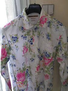 chemise-R-NINETY-FIFTH-T-L-blanc-fleuri