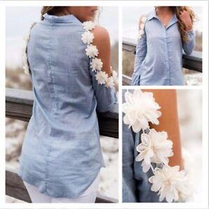 Fashion-Autumn-Women-039-s-Ladies-Off-Shoulder-Tops-Shirts-Blouse-Clothes-Plus-Size