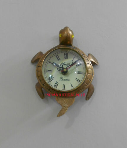 Tortoise Wall Hanging Clock in big Numeric and full brass Body Nautical