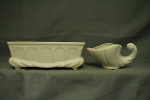 lot 2 vintage white art pottery planters cornucopia USA rectangular arch