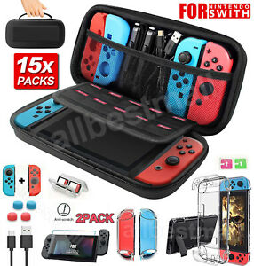 For Nintendo Switch Carry Case Bag Hard Cover Tempered Glass Protector Thumb Cap