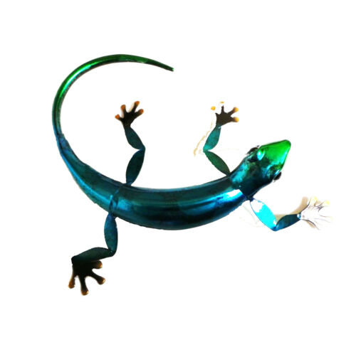 Metal Gecko Lizard Garden Wall Art Choice Of 3 Different Colours Red Blue Green