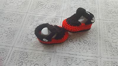 Bebé tejido a mano de ganchillo/- T-Zapatos elegir Tamaño y Color